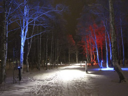 Kirkkosaari park with memorable lighting experience, Kuusamo